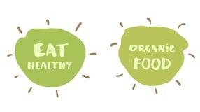 Coma o crachá tirado mão saudável e do alimento biológico Ilustração do vetor ilustração do vetor