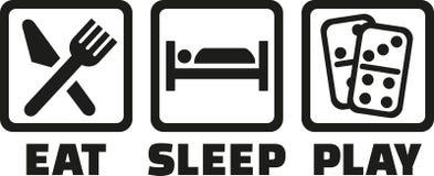 Coma o dominó do jogo do sono ilustração royalty free