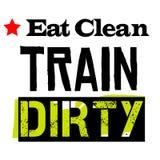Coma o trem limpo sujo ilustração stock