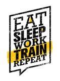 Coma a repetição do trem do trabalho do sono Citações da motivação do esporte do exercício e da aptidão Conceito criativo do cart ilustração royalty free