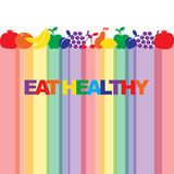 Coma saudável - o cartaz inspirador ou a bandeira com frase colorida comem saudável com ícones e sinais dos frutos Imagens de Stock Royalty Free