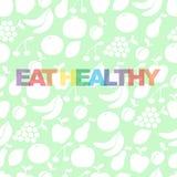 Coma saudável - o cartaz inspirador ou a bandeira com frase colorida comem saudável com ícones e sinais dos frutos ilustração stock