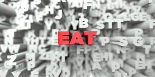COMA - Texto vermelho no fundo da tipografia - 3D rendeu a imagem conservada em estoque livre dos direitos ilustração do vetor