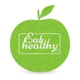 Coma uma dieta saudável Apple verde, vetor ilustração stock