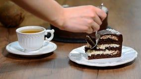 Coma uma parte de bolo do chocolate-coco vídeos de arquivo