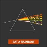 Coma una prisma dispersiva del arco iris stock de ilustración