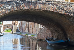 Comacchio - Bridges and boats Stock Image