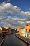 Comacchio, canal and waterfront houses. Ferrara, Italy Royalty Free Stock Photos