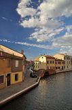 Comacchio, canal and waterfront houses. Ferrara, Italy Royalty Free Stock Image