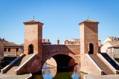 Comacchio Italien Den lilla Venedig av Emilia Romagna Arkivbild