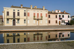 Comacchio, Italy. Residential houses Royalty Free Stock Photo