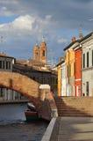 Comacchio, kanaalbrug Ferrara, Italië Royalty-vrije Stock Afbeeldingen