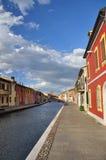 Comacchio, kanaalbrug Ferrara, Italië Stock Afbeeldingen