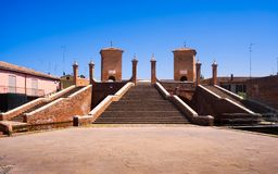 Comacchio, Tre Ponti or Trepponti three way bridge. Ferrara, Emi. Lia Romagna Italy Europe Stock Photo
