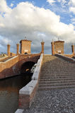 Comacchio, treppontibrug Ferrara, Italië Stock Fotografie