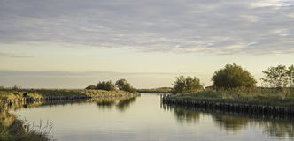 Comacchio valley lagoon. Channel in the Po river lagoon royalty free stock photography