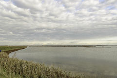 Comacchio valley lagoon. Lagoon landscape with a cloudy sky royalty free stock photo