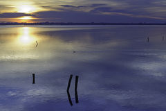 Comacchio valley lagoon. Sunrise at Po river lagoon stock images