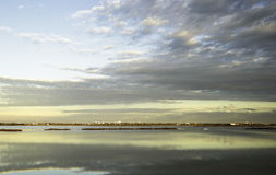 Comacchio valley lagoon. Sunrise at Po river lagoon royalty free stock photography