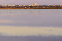 Comacchio valley lagoon. Sunrise with a view of Comacchio Village in the background stock photo
