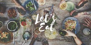 Comamos el concepto gastrónomo de la consumición de la cocina del abastecimiento de la comida Fotografía de archivo