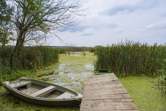 Comana delta. Boat anchored on the ponton Comana natural park Stock Photography