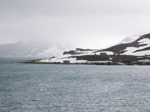 Comandante Ferraz Antarktyczna stacja lokalizować w admiralici zatoce, królewiątka George wyspa, blisko porady Antarktyczny półwy Obrazy Royalty Free