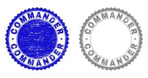COMANDANTE Textured Watermarks do Grunge ilustração do vetor