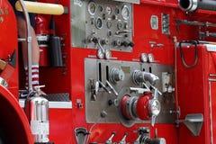 Comandi rossi del camion dei vigili del fuoco Immagine Stock Libera da Diritti
