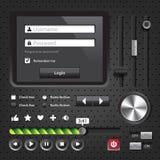 Comandi scuri dell'interfaccia utente degli elementi di progettazione Immagini Stock Libere da Diritti