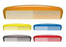 Comb. Plastic colourful hair comb collection for hairdressers stock illustration
