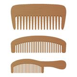 Comb , Barber Comb, Hair Accessories, Wooden Comb Isolated On A White Background. Vector Illustration. Royalty Free Stock Photography