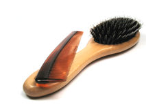 Comb and brush. A comb and hair brush Stock Images