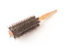 Comb brush with hair loss problem on white background, health ca Royalty Free Stock Photo