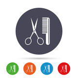 Comb hair with scissors sign icon. Barber symbol. Royalty Free Stock Image