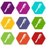 Comb icon set color hexahedron. Comb icon set many color hexahedron isolated on white vector illustration Royalty Free Stock Photography