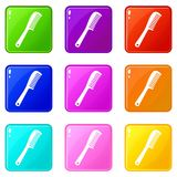 Comb icons 9 set. Comb icons of 9 color set isolated vector illustration Stock Photos