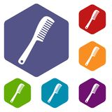 Comb icons set hexagon. Isolated vector illustration Stock Photos