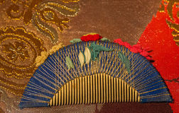 Comb in Japanese silk style background Stock Images