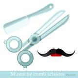 Comb mustache scissors barbershop set Stock Images