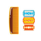 Comb and razor Stock Photography