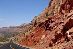 Comb Ridge. Utah Highway 95 cuts through Comb Ridge, a linear north to south trending monocline in southern Utah royalty free stock image