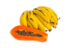 Ripe banana and papaya. Stock Photos
