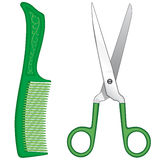 Comb and scissors Stock Photo