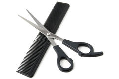 Comb and scissors Stock Photography