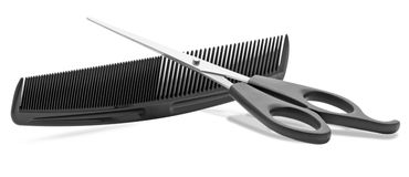 Comb and scissors Royalty Free Stock Image