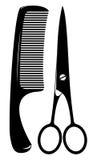 Comb and scissors Stock Photos