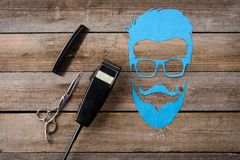Electric clipper and male silhouette royalty free stock photography