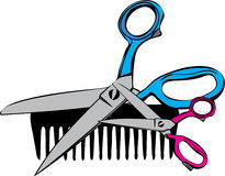 Comb & Scissors Royalty Free Stock Photography