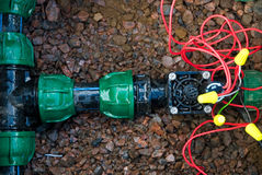 Comb solenoid valves. Of automatic irrigation Royalty Free Stock Photography